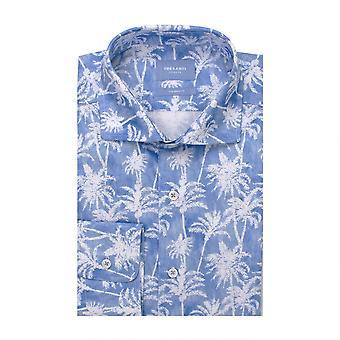 Tresanti Palm Tree Shades Of Blue Cotton Long Sleeve Men's Shirt
