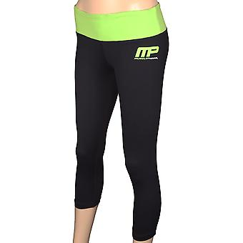 MusclePharm Womens 3/4 Compression Leggings - Black/Green