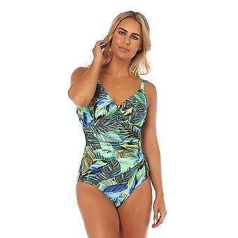 Seaspray SY007778 Women's Eden Blue Multicolour Floral Costume One Piece Crossover Swimsuit
