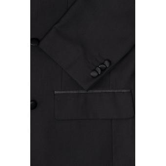 Dobell Mens musta smokki takki regular fit Peak käänne kaksinkertainen rinnakkaisryhmitelmällä