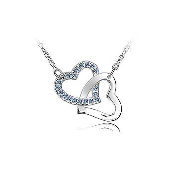 Kaksinkertainen kietoutunut sydämet kaula koru koristeltu Swarovski sininen kristalli