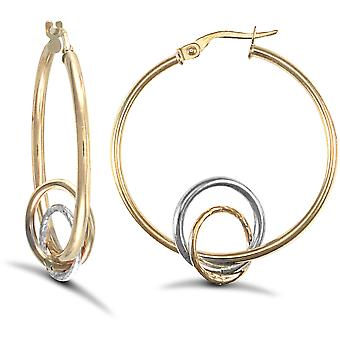 Jewelco London Ladies 9ct Yellow and White Gold Eclipse Orbit 2mm Hoop Earrings 32mm