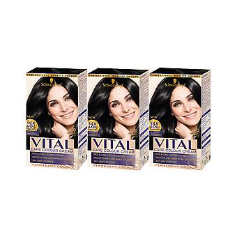 Schwarzkopf Vital Colors 1-0 Natural Black Permanent Hair Colour Dye x3