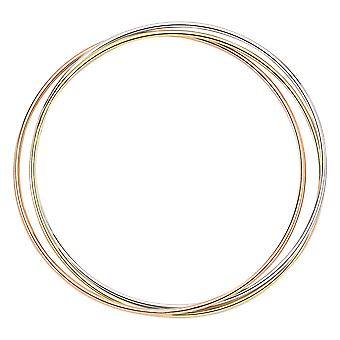 Jewelco London White, Yellow and Rose Gold-Plated Sterling Silver Russian Wedding Bangle Bracelet