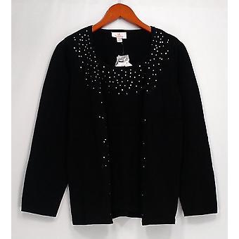 Quacker Factory Sweater Sparkle Duet Twinset Sweater Black A280748