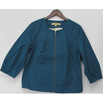 Lema sin cuello Zip frontal recortado chaqueta Dusty Teal azul A91770