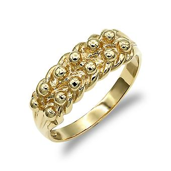 Jewelco London Men's Solid 9ct Yellow Gold 2 Row Keeper Rope Edge Ring