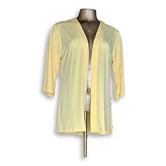 Susan Graver Women's Sweater Liquid Knit Cardigan Yellow A303410