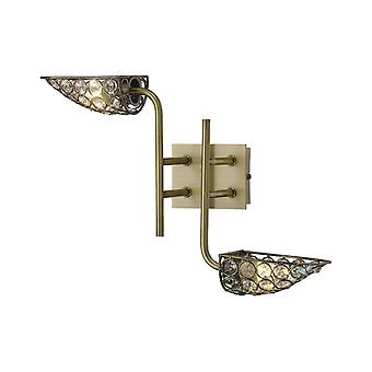 Diyas Ashton Wall Lamp 2 Light Antique Brass/Crystal