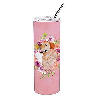 Gele Labrador Retriever roze bloemen dubbelwandig RVS 20 oz Skinn