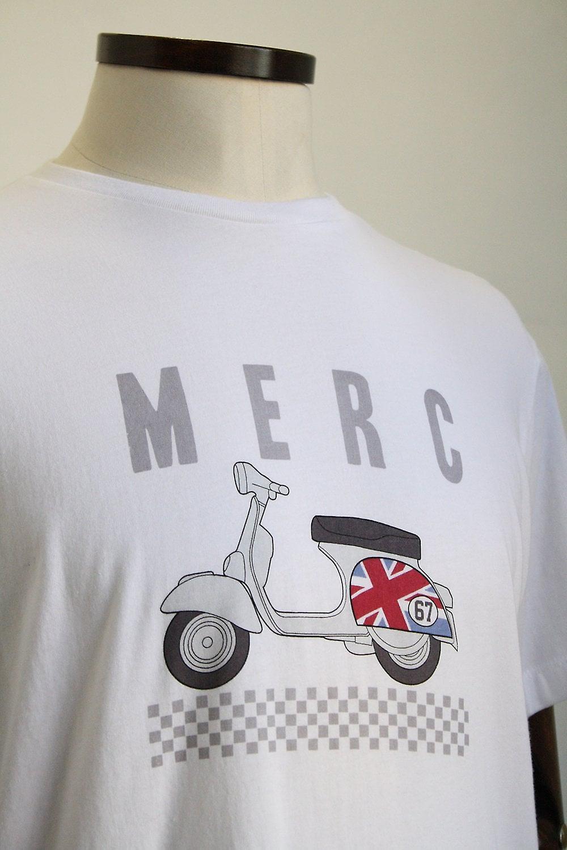 Merc London Romford White Scooter Print T-Shirt
