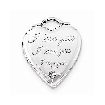 925 Sterling sølv diamant jeg elsker deg 20mm hjerte medaljong-. 05 DWT
