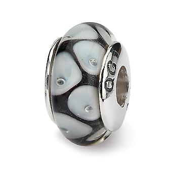 925 Sterling Silver Polished Reflections Black Grey Murano Glass Bead Charm Pendant Necklace Jewelry Gifts for Women