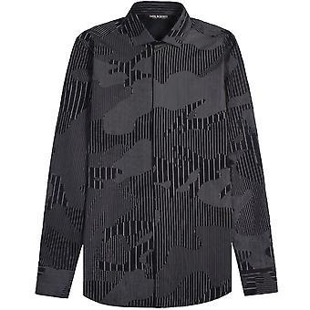 Neil Barrett kamouflerade Pinstripe skjorta Dark Navy