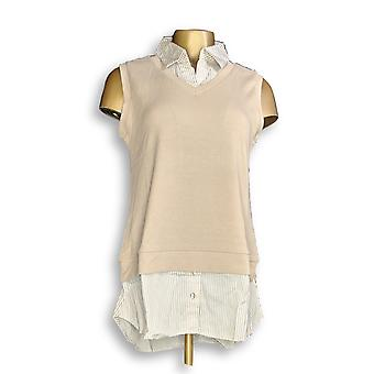 Kathleen Kirkwood Women's Top Ribbed Tank Striped Hem Collar Beige A351220