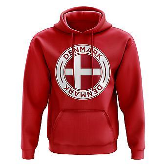 Danmarks fotball Badge hettegenser (rød)