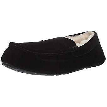 Amazon Essentials Men's Leather Moccasin Slipper, Black, 9 M US