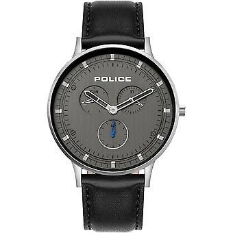الشرطة 15968JS-39 بيركلي ساعة يد جلدية سوداء