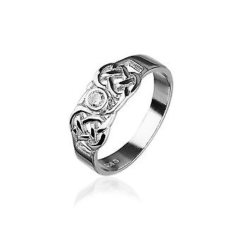 Sterling Silver Traditional Scottish Celtic Knotwork Design Ring WIth Cubic Zirconia Stone