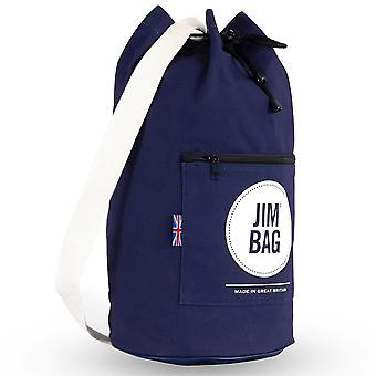 JIMBAG Navy & Cream Travel Fitness Gym Drawstring Duffle Outdoor Bag