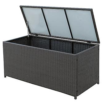 Outsunny Rattan Storage Box Outdoor Indoor Wicker Cabinet Chest Garden Furniture 118 x 54 x 59cm - Dark Brown