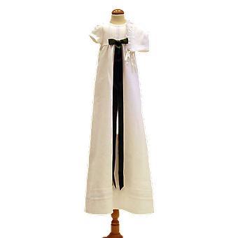 Dopklänning Med Dophätta, Kort ärm, Mörkgrön Rosett. Grace Of Sweden