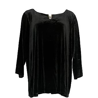 Calvin Klein Femme-apos;s Plus Top 3/4 Sleeve Velvet Noir