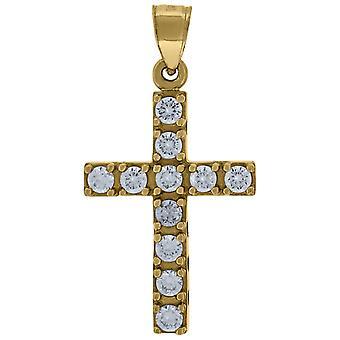 10k Giallo Oro Donna Uomo Rotondo Cubico irconia Croce Fascino Religioso Collana Misura 31.3x16 Gioielli Regalo