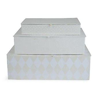 Boxes cardboard 3-set beige/white