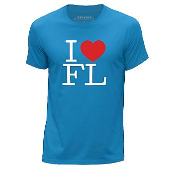 STUFF4 Men's Round Neck T-Shirt/I Heart FL / Love Florida/Blue