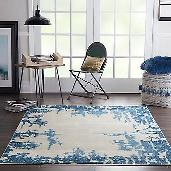 Etchings ETC04 Ivory Blue  Rectangle Rugs Modern Rugs