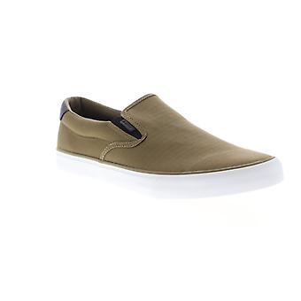 Lugz Clipper Mens Brown Canvas Low Top Slip On Lifestyle Sneakers Shoes