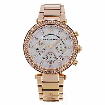 Michael Kors Watches Mk5491 Parker Rose Gold And Mother Of Pearl Dial Chronograph Ladies Watch