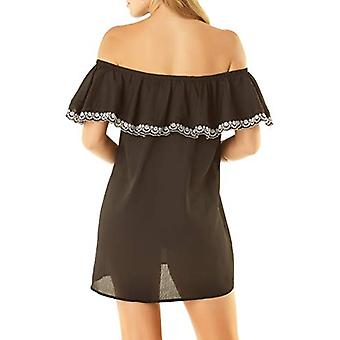 Studio Anne Cole Women's Off The Shoulder Cover Up Dress,, Black, Size Medium