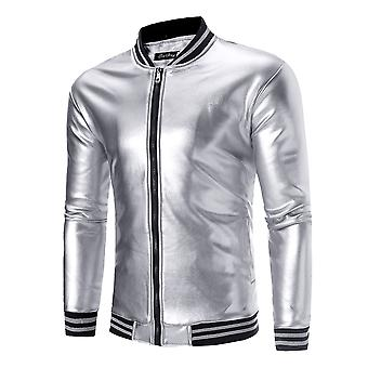 Allthemen Men's Hooded Bomber Jacket Glossy Outwear Coat Lined with Velvet