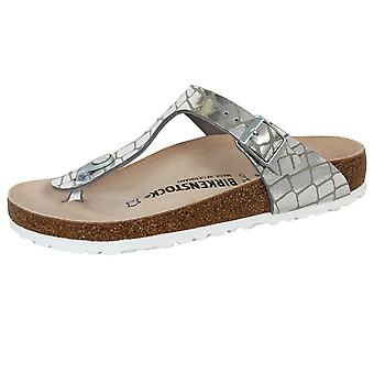 Birkenstock gizeh bs women's gator gleam silver sandals