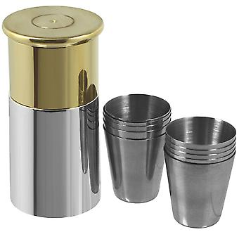 Shotgun Cartridge Travel Cup Set (Flask with 10 shot cups)