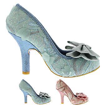 Womens Irregular Choice Mal E Bow Floral Evening Bow High Heel Courts