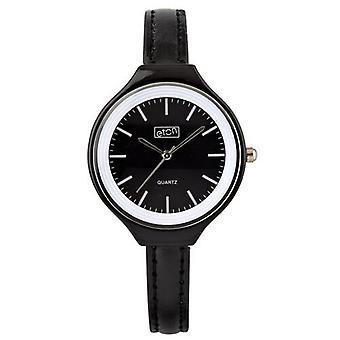 Eton Fashion Watch, Round Case, Classic Dial, Slim PU Black Strap 3050L-BK