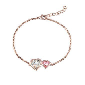 Double Hearts ranne koru koristeltu Swarovski vaaleanpunainen ja valkoinen kristalli ja Rose Gold Plate
