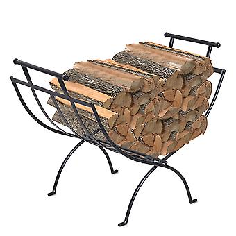 Outsunny 45x35cm Folding Wood Log Holder Storage Rack Fireplace Stand Matte Metal Elevated Indoor Outdoor Black