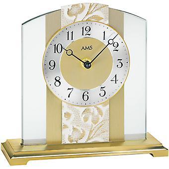 AMS 1123 Pöytäkello Kvartsi analoginen kultainen moderni lasi messinki ja jäljitelmä nahka