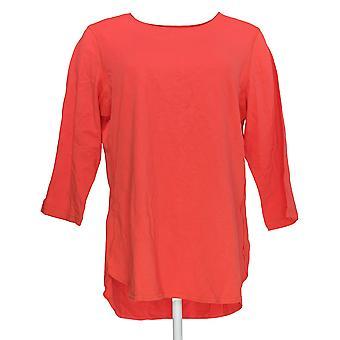Denim & Co. Frauen's Top Active 3/4-Sleeve stricken Oben zurück Schlüsselloch rot A307534