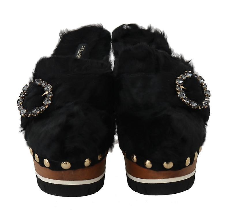 Dolce & Gabbana Black Xiangao Fur Crystal Mules -- LA48845296