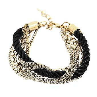 Bracelet, Twisted Rope and Gold Colored Chains - Black