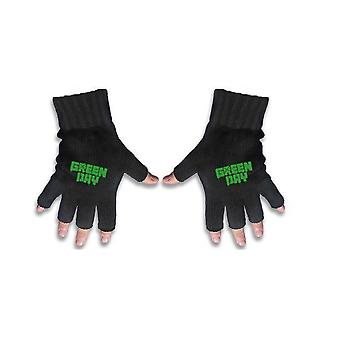 グリーン日手袋バンド ロゴ アメリカンイディオット新しい新しい公式指なし手袋黒
