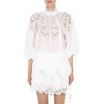Zimmermann 7835tcarivo Women's White Linen Shirt