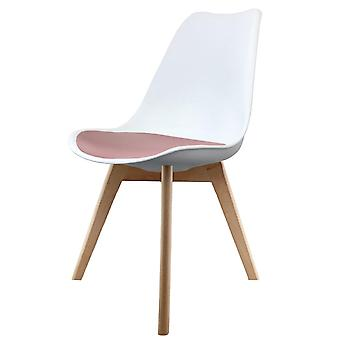 Fusion Living Eiffel Inspired White And Blush Pink Dining Chair With Squared Light Wood Legs