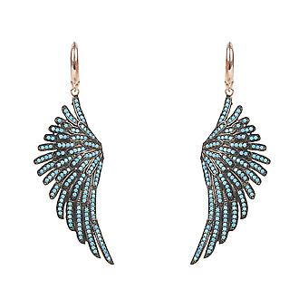 Angel Wings Large Drop Earrings Pink Rose Gold Turquoise Blue Sterling Silver  CZ Big