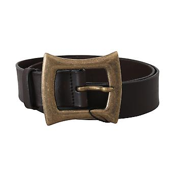 Dolce & Gabbana Brown Leather Gold Buckle Wide Belt